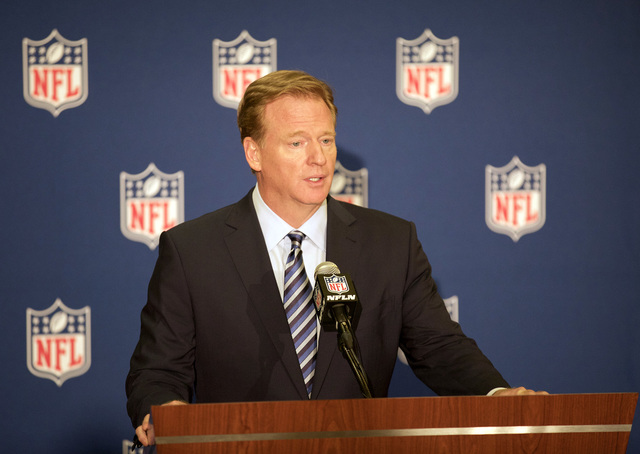 NFL commissioner Roger Goodell answers questions from the media during a news conference at the NFL owners meeting in Houston on Oct. 19, 2016. (Heidi Fang/Las Vegas Review-Journal)