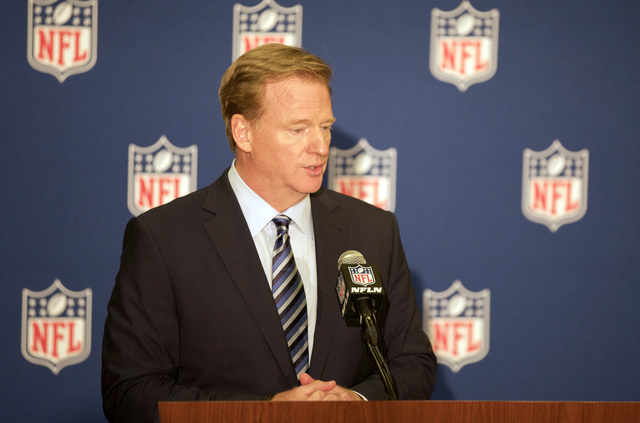 NFL commissioner Roger Goodell answers questions from the podium at a news conference in Houston during the NFL owners meeting on Oct. 19, 2016. (Heidi Fang/Las Vegas Review-Journal)