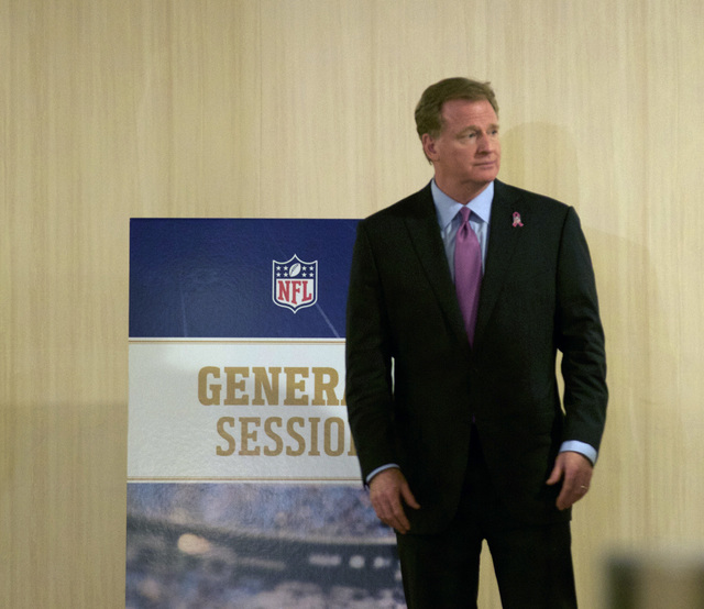 NFL commissioner Roger Goodell stands in the hallway at the JW Marriott in Houston, Texas, during a break at the NFL owners meeting on Oct. 18, 2016. (Heidi Fang/Las Vegas Review-Journal)