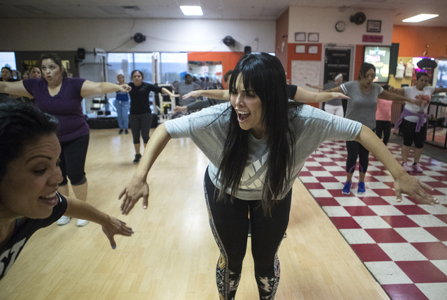 Zumba teacher Ana Bastian, left, and Rosie Mercado participate in a Zumba class at Dance 4 Energy on Sept. 21. (Loren Townsley/View)