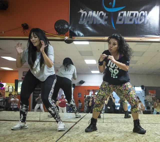 Rosie Mercado, left, and Zumba teacher Ana Bastian instruct a Zumba class at Dance 4 Energy on Sept. 21, 2016. (Loren Townsley/View)