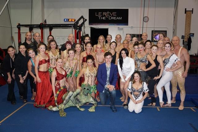 """Nolan Gould (center) with """"Le Reve"""" cast. (Wynn Las Vegas)"""