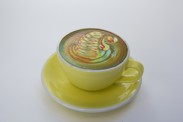 The Rainbow Latte is shown at Sambalatte Torrefazione in the Monte Carlo hotel-casino on the Las Vegas Strip on Wednesday, Oct. 5, 2016. Loren Townsley/Las Vegas Review-Journal Follow @lorentownsley