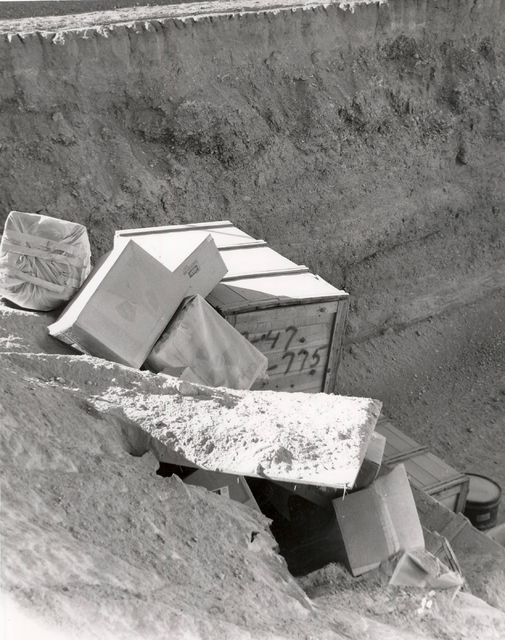 Boxes of low-level radioactive waste are seen at the landfill, 11 miles south of Beatty, in this undated photo. (Las Vegas Review-Journal file)