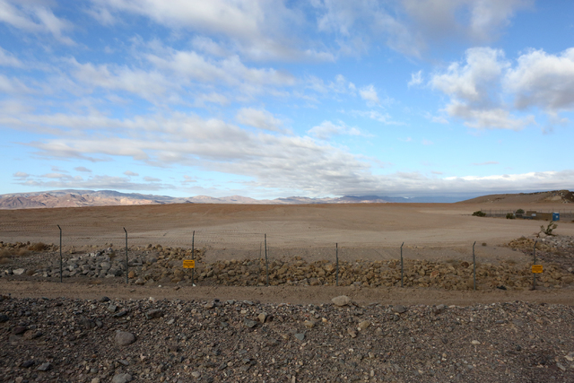 Just beyond the fence is the site of the October 18, 2015 explosion at Nevada's low-level radioactive waste dump, 11 miles south of Beatty as it looks on October 17, 2016. (Michael Quine/Las Vegas ...