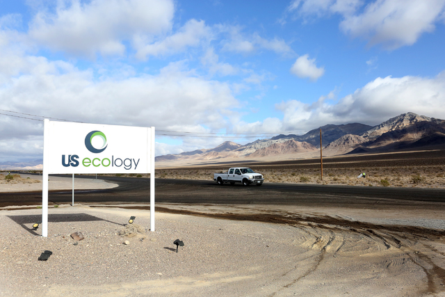 The entrance to the US Ecology facility, is seen off U.S. Highway 95, 11 miles south of Beatty, on Oct. 17, 2016. (Michael Quine/Las Vegas Review-Journal Follow @Vegas88s)