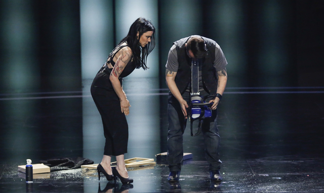 AmberLynn Walker and Ryan Stock perform in America's Got Talent.  (Vivian Zink/NBC)