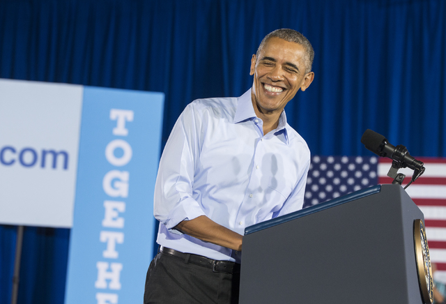 President Barack Obama speaks at a rally organized by the Nevada State Democratic Party at Cheyenne High School on Sunday, Oct. 23, 2016, in North Las Vegas. President Obama was campaigning for De ...