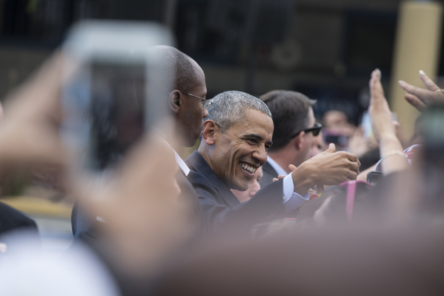 President Barack Obama greets supporters at a rally organized by the Nevada State Democratic Party at Cheyenne High School on Sunday, Oct. 23, 2016, in North Las Vegas. President Obama was campaig ...
