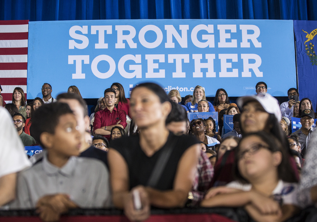 Supporters of President Barack Obama pack the house at a rally organized by the Nevada State Democratic Party at Cheyenne High School on Sunday, Oct. 23, 2016, in North Las Vegas. President Obama  ...