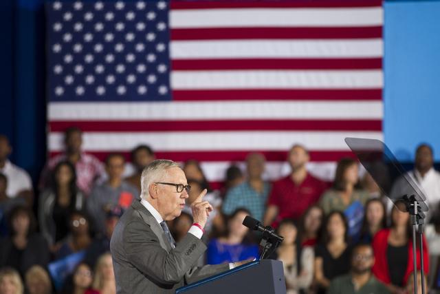 U.S. Sen. Harry Reid, D-Nev., speaks during a campaign rally for Democratic presidential nominee Hillary Clinton at Cheyenne High School on Sunday, Oct. 23, 2016, in North Las Vegas. Erik Verduzco ...