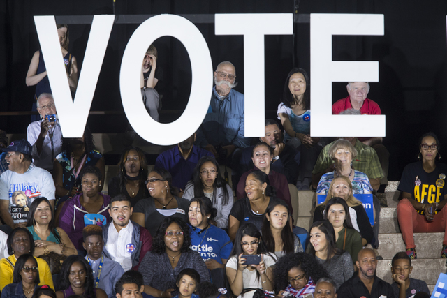 People attend a campaign rally for Democratic presidential nominee Hillary Clinton at Cheyenne High School on Sunday, Oct. 23, 2016, in North Las Vegas. Erik Verduzco/Las Vegas Review-Journal Foll ...