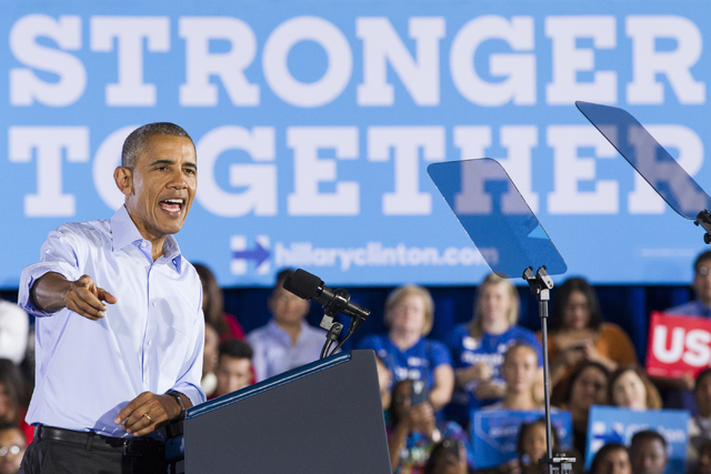 President Barack Obama speaks during a campaign rally for Democratic presidential nominee Hillary Clinton at Cheyenne High School on Sunday, Oct. 23, 2016, in North Las Vegas. Erik Verduzco/Las Ve ...