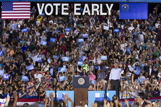 President Barack Obama waves at supporters after speaking during a campaign rally for Democratic presidential nominee Hillary Clinton at Cheyenne High School on Sunday, Oct. 23, 2016, in North Las ...