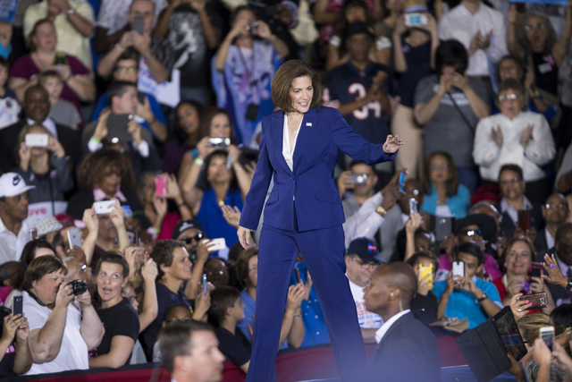 Democratic U.S. Senate candidate Catherine Cortez greets attendees during a campaign rally with President Barack Obama at Cheyenne High School on Sunday, Oct. 23, 2016, in North Las Vegas. Erik Ve ...