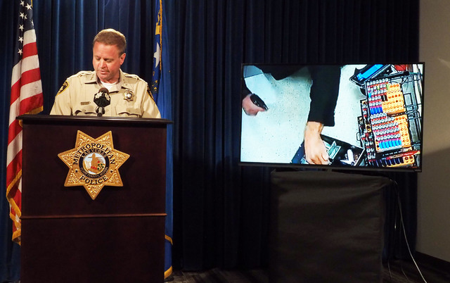 Metro Undersheriff Kevin McMahill speaks during a news conference at Metropolitan Police headquarters, Monday, Oct. 17, 2016, regarding a fatal officer involved shooting on Oct. 12, 2016. Video cl ...