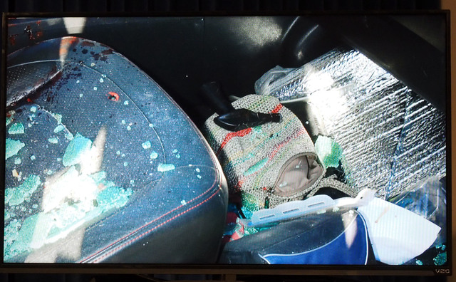 A photo of the inside of a car driven by Rex Vance Wilson is displayed as Metro Undersheriff Kevin McMahill speaks during a news conference at Metropolitan Police headquarters, Monday, Oct. 17, 20 ...