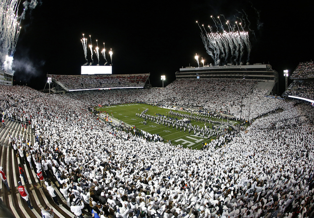 The band plays on the field before the Ohio State and Penn State game in State College, Pa., Saturday, Oct. 22, 2016. (Chris Knight/The Associated Press)