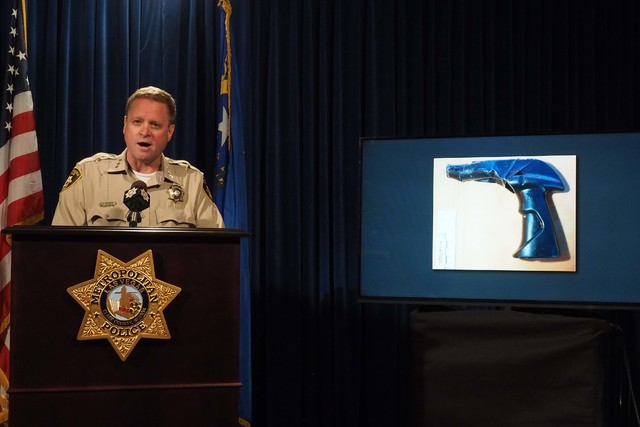 Metro Undersheriff Kevin McMahill speaks during a news conference at Metropolitan Police headquarters, Monday, Oct. 17, 2016, regarding a fatal officer-involved shooting on Oct. 12, 2016. A photo  ...