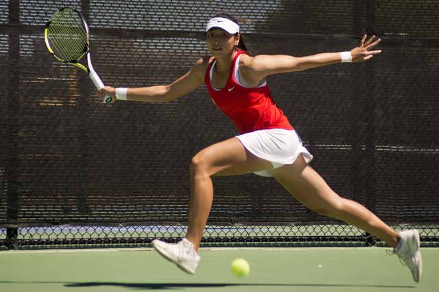 UNLV senior Carol Yang, shown in April, stunned the nation's 21st-ranked player Thursday in the main singles draw of the Riviera/ITA All-American Championships in Pacific Palisades, Calif. (Daniel ...