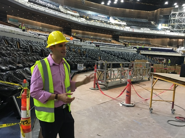 Park Theater at Monte Carlo General Manager Dan Bernbach leads a tour of the venue, which opens with Stevie Nicks and the Pretenders on Dec. 17, on Tuesday afternoon. (John Katsilometes/Las Vegas  ...