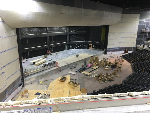 A look at the stage of Park Theater at Monte Carlo, which opens with Stevie Nicks and the Pretenders on Dec. 17, on Tuesday afternoon. (John Katsilometes/Las Vegas Review-Journal)