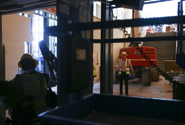 General Manager and Executive Director Daniel Bernbach, right, leads a tour of the Park Theater, slated to open in December, at the Monte-Carlo hotel-casino in Las Vegas on Tuesday, Oct. 25, 2016. ...