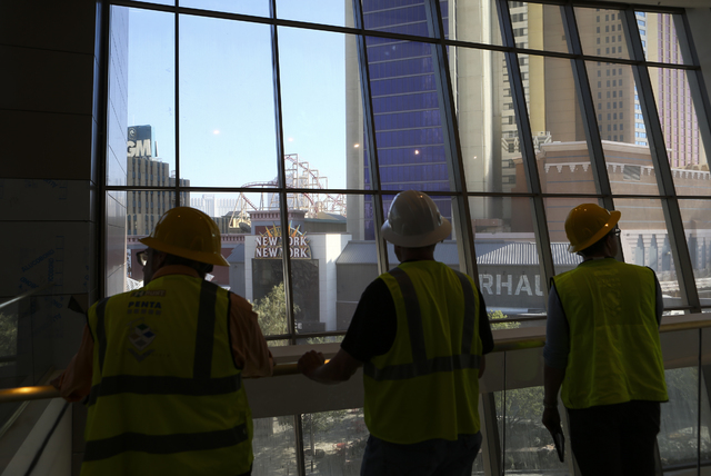 A view looking out to the Las Vegas Strip during a tour of the Park Theater, slated to open in December, at the Monte-Carlo hotel-casino in Las Vegas on Tuesday, Oct. 25, 2016. Chase Stevens/Las V ...