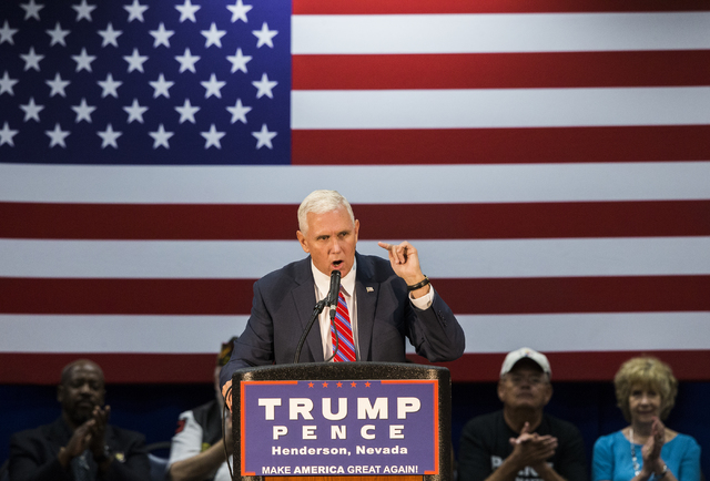 Republican vice presidential candidate Indiana Gov. Mike Pence speaks during a campaign stop at the Henderson Convention Center on Wednesday, Aug.17, 2016, in Henderson. Benjamin Hager/Las Vegas R ...