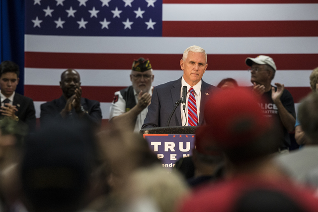 Republican vice presidential candidate Indiana Gov. Mike Pence addresses the crowd during a campaign stop at the Henderson Convention Center on Wednesday, Aug.17, 2016, in Henderson. Benjamin Hage ...