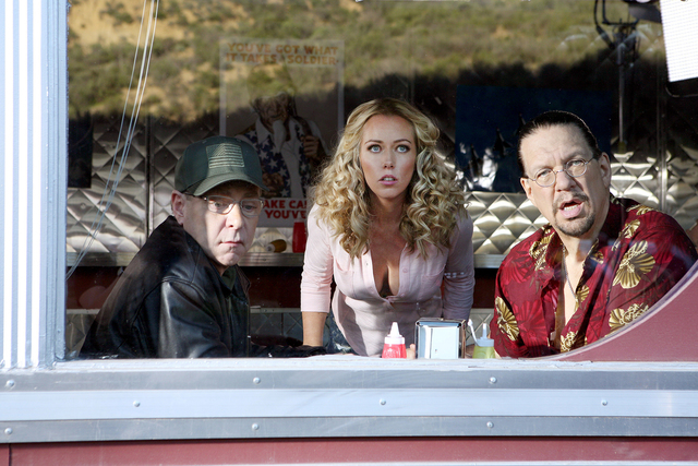 "Teller, Kendra Wilkinson and Penn Jillette star in ""Sharknado 3: Oh Hell No!"" (Raymond Liu/Syfy)"