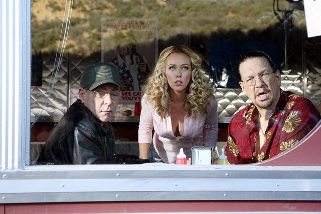 "Teller, Kendra Wilkinson and Penn Jillette star in ""Sharknado 3: Oh Hell No!"" (Raymond Liu/Syfy)"
