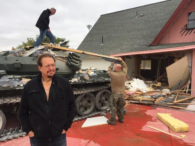 "Penn Jillette surveys the damage at ""The Slammer,"" his longtime home in southwest Las Vegas, on Tuesday afternoon. (Courtesy Penn Jillette)"
