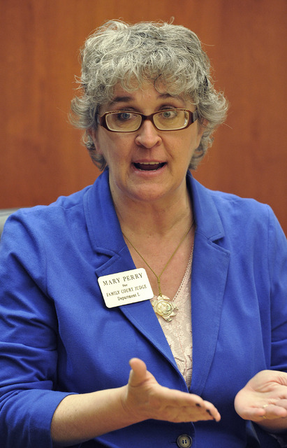 Mary Perry, candidate for Family Court judge, Dept. L, speaks with the Review-Journal editorial board on Tuesday, March 11, 2014.  (Mark Damon/Las Vegas Review-Journal)