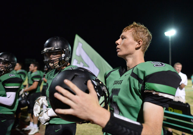 Virgin Valley quarterback Cade Anderson (5) listens to the band after beating Chaparral High School High School at Virgin Valley High School in Mesquite, Nev., on Friday, Oct. 14, 2016. Brett Le B ...