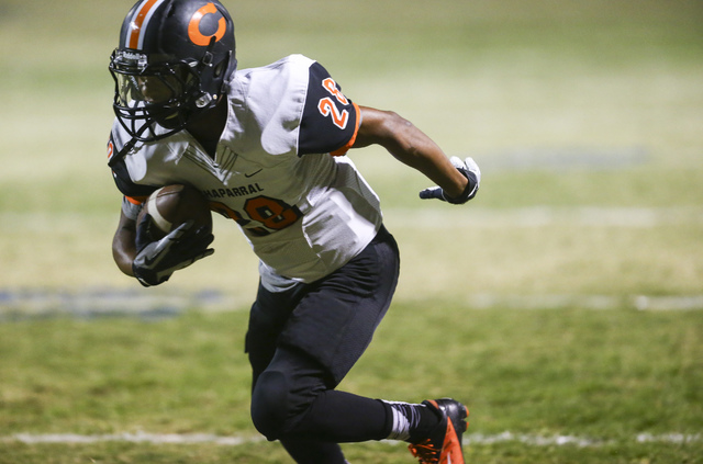 Chaparral's Darius Disroe (28) scores a touchdown against Cheyenne during a football game at Cheyenne High School in Las Vegas on Thursday, Oct. 27, 2016. Chase Stevens/Las Vegas Review-Journal Fo ...
