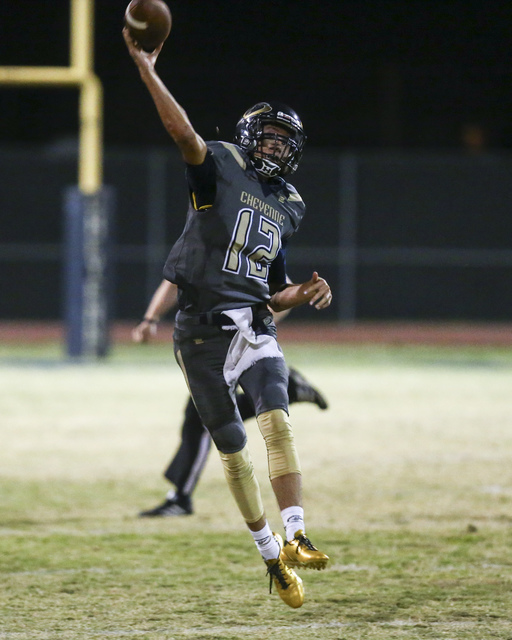 Cheyenne's Matthew LaBonte (12) throws a pass during a football game against Chaparral at Cheyenne High School in Las Vegas on Thursday, Oct. 27, 2016. Chase Stevens/Las Vegas Review-Journal Follo ...