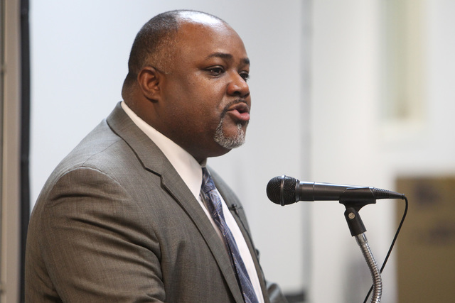 "Former Assemblyman Jason Frierson, D-las Vegas, delivers a ""state of the state"" address at a meeting of the Progressive Leadership Alliance of Nevada Tuesday, Jan. 13, 2015. (Sam ..."