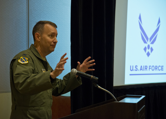 Col. David Avila speaks during the public scoping meeting for the proposed expansion of the Nevada Test and Training Range at the Aliante hotel-casino in North Las Vegas on Thursday, Oct. 20, 2016 ...