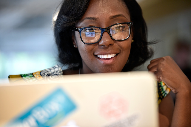 Small business owner Tamar Lucien works on her computer at the University of Phoenix's new RedFlint experience center Monday, Oct. 10, 2016, in downtown Las Vegas. The 11,000 square-foot education ...