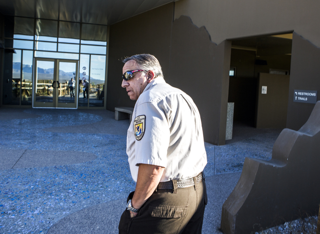U.S. Fish & Wildlife Service public affairs officer Dan Balduini, walks toward the Corn Creek Visitor Center on Friday, Sept. 30, 2016. The Air Force prepares to hold public meetings on a plan ...