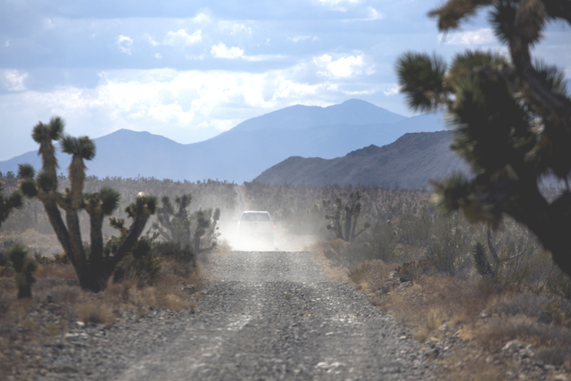 A U.S. Fish & Wildlife Service pickup travels south in the Desert National Wildlife Refuge on Friday, Sept. 30, 2016. The Air Force prepares to hold public meetings on a plan to expand its tra ...