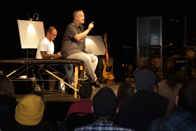 Pastor Vince Antonucci gives a sermon on being accepted for who we really are, flaws and all, before receiving a tattoo on stage at the Verve Church in Las Vegas on Sunday, Oct. 2, 2016. (Jeferson ...