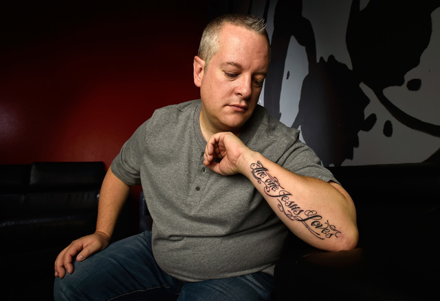 "Pastor Vince Antonucci displays his new tattoo before his evening service at Verve Church on Monday, Oct. 3, 2016, in Las Vegas. The tattoo, inked over the course of four services, reads ""The one  ..."