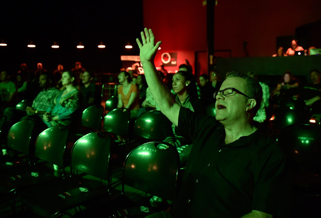 Parishioner Mike Hepner sings along during the evening service at Verve Church Monday, Oct. 3, 2016, in Las Vegas. David Becker/Las Vegas Review-Journal Follow @davidjaybecker