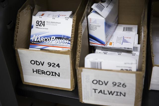 Drug test kits are shown at the Las Vegas Metropolitan Police Department Downtown Area Command on Saturday, Oct. 8, 2016, in Las Vegas. (Erik Verduzco/Las Vegas Review-Journal Follow @Erik_Verduzco)