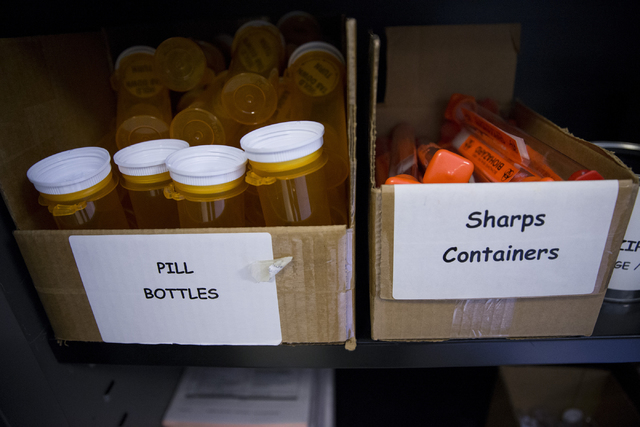Drug evidence supplies are shown at the Las Vegas Metropolitan Police Department Downtown Area Command on Saturday, Oct. 8, 2016, in Las Vegas. (Erik Verduzco/Las Vegas Review-Journal Follow @Erik ...