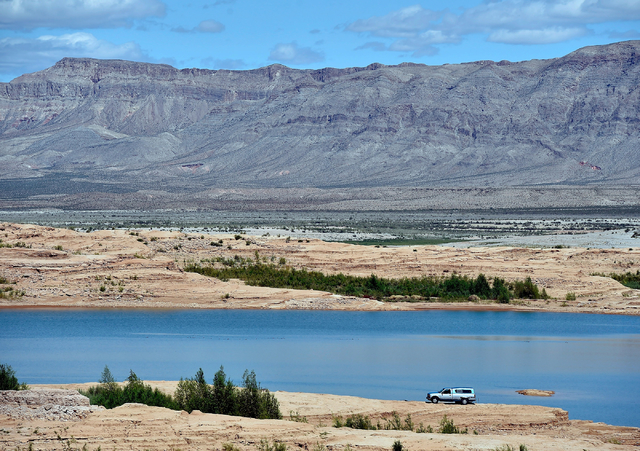 A general view of the receding waterline is seen at Stewarts Point in the Overton arm of Lake Mead Tuesday, April 26, 2016, at the Lake Mead National Recreation Area. Water officials have negotiat ...