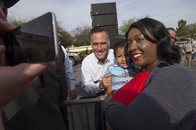 Mitt Romney greets supporters at a campaign rally outside the Summerlin campaign headquarters of U.S. Rep. Cresent Hardy, R-Nev., in Las Vegas on Oct. 8, 2016. Richard Brian/Las Vegas Review-Journ ...