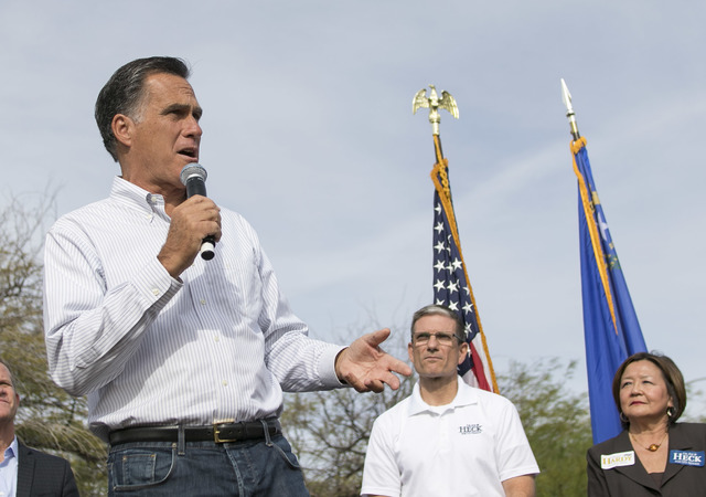 Mitt Romney speaks at a campaign rally outside the Summerlin campaign headquarters of U.S. Rep. Cresent Hardy, R-Nev., in Las Vegas on Oct. 8, 2016. Richard Brian/Las Vegas Review-Journal Follow @ ...